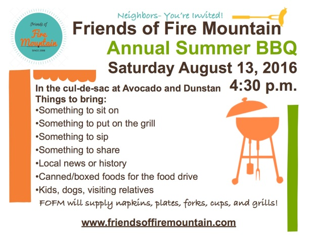Fire Mountain Summer BBQ August 13 at 4:30